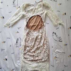 Forever 21 Dresses - Cream Lace Long Sleeve Body Con Dress